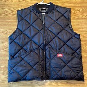 Dickies black puffer zip up vest men's large
